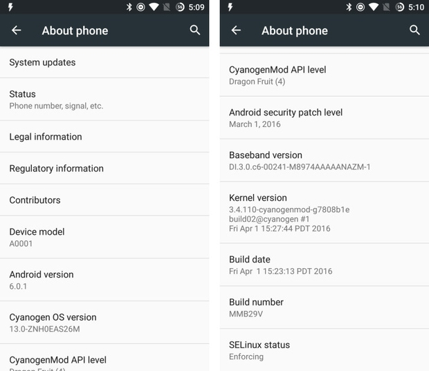 OnePlus One Android 6.0.1 update