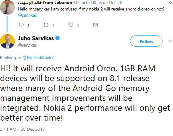 Juho Sarvikas tweet Nokia 2 Android 8.1 Oreo